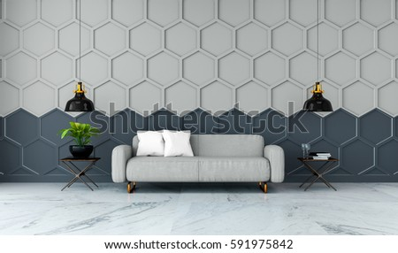 Modern Room Interior,gray Fabric Sofa On Marble Flooring And Gray With  Black Hexagon Mesh