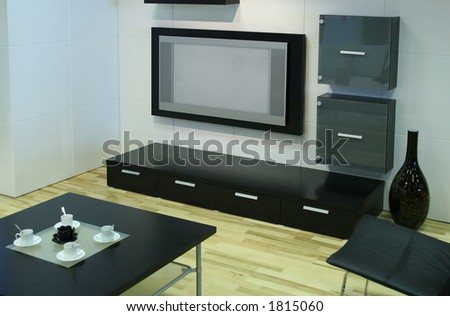 modern room with tv - stock photo