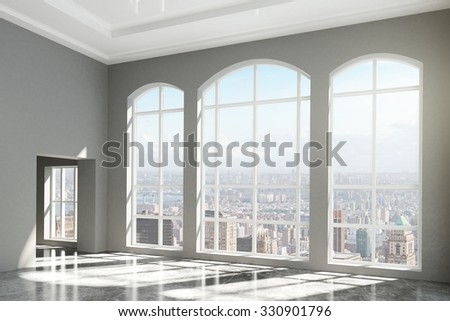 MOdern room with windows in floor and city view 3D Render - stock photo