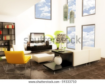 modern room with yellow furniture and white wall