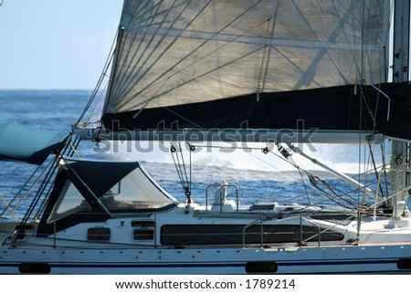 modern sailboat with a whale splash in the background