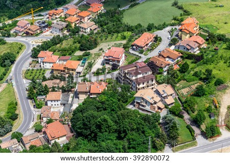 Modern San Marino Suburban districts and Italian hills view from above.  - stock photo