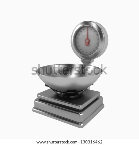 Modern scale on white background. 3d render - stock photo