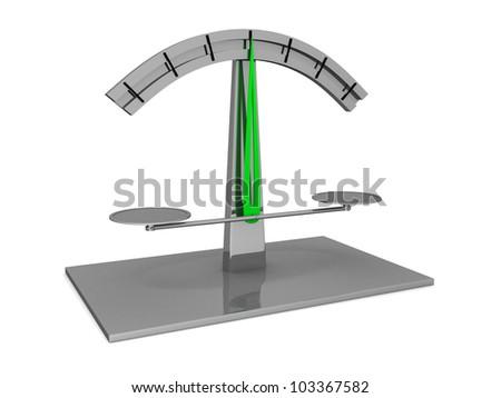 Modern scale on white background. 3d render illustration - stock photo