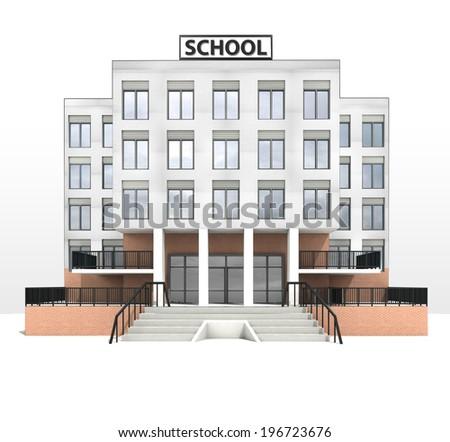 modern school building design front facade view illustration - stock photo