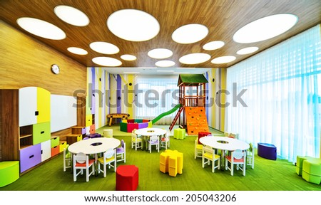 Modern school  interior . - stock photo
