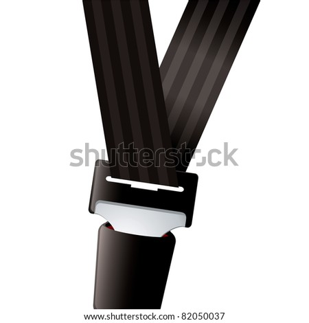 Modern seat belt for car clipped in and secure - stock photo