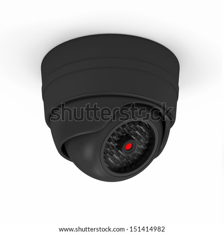Modern Security Camera isolated on white background - stock photo