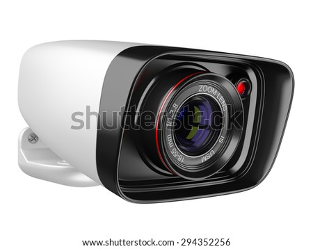 Modern security camera isolated on white background.  - stock photo