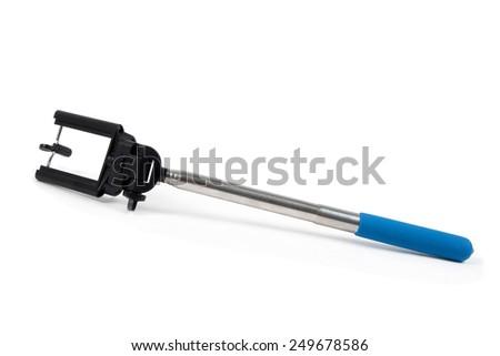 modern selfie stick on the white - stock photo