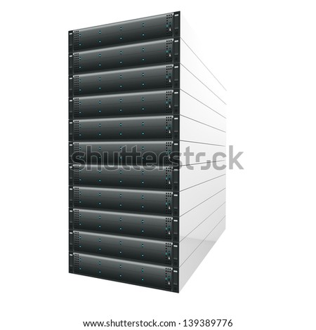 Modern Server isolated - stock photo