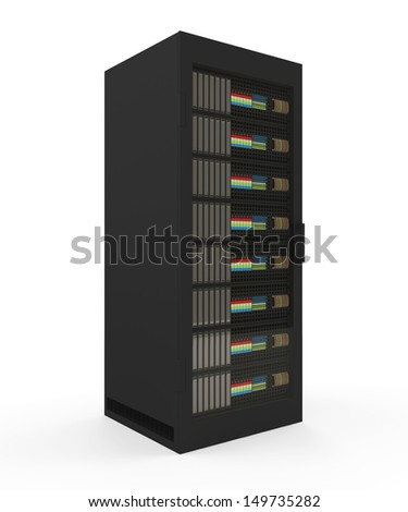 Modern Server Rack isolated on white background