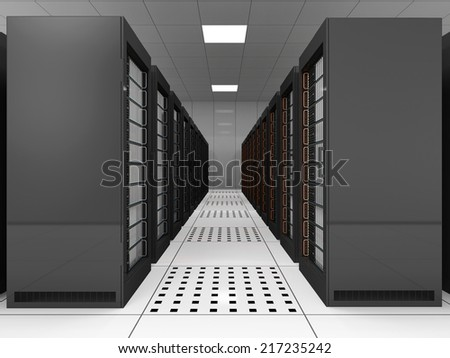 Modern Server Room Interior - stock photo