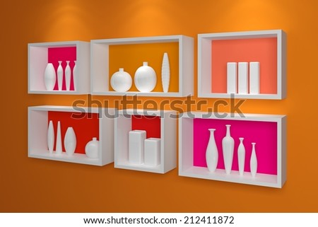 Modern shelves on a wall with colorful pottery. - stock photo