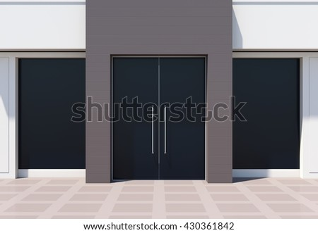 Modern shopfront with large doors and windows. White store facade 3D rendering - stock photo