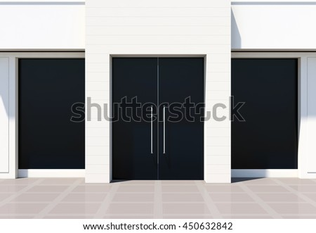 Modern shopfront with large doors and windows. White store facade 3D rendering
