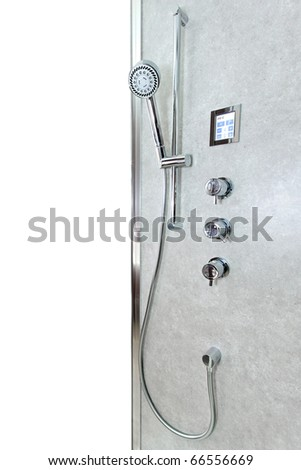 Modern shower handle with valves and digital control - stock photo