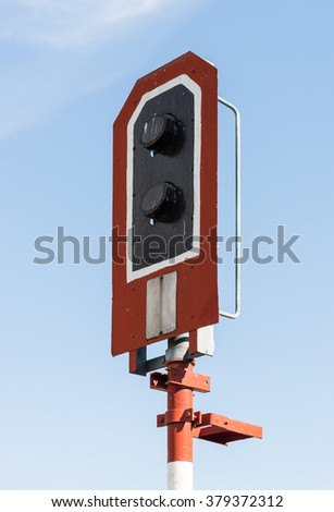 Modern signal pole of the railway traffic in large station. - stock photo