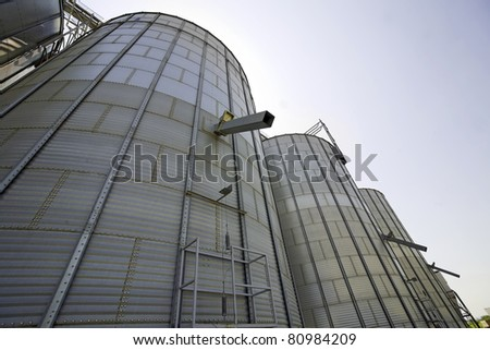 Modern silo for wheat, barley and rye - stock photo