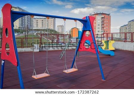modern simple design playground for kids. Urban playground - stock photo