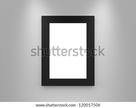 Modern single blank gallery frame, black border, interior scene, advertisement board on white wall. lights from top. - stock photo