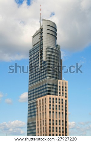 Modern skyscraper in the center of Warsaw, Poland