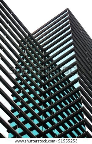 Modern skyscraper with window glasses facade - stock photo