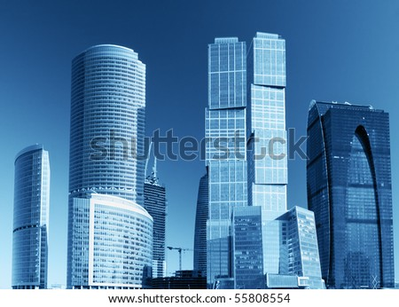 modern skyscrapers and tall buildings of glass and metal - stock photo
