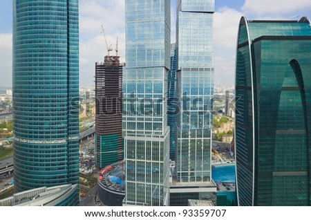 Modern skyscrapers at Moscow City, Russia - aerial view