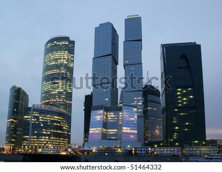 Modern skyscrapers at night - stock photo