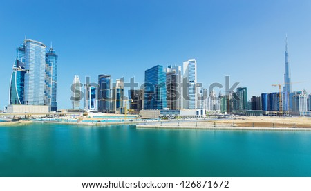 Modern skyscrapers at the centre of Dubai city,United Arab Emirates