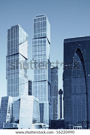 modern skyscrapers business center of glass and metal - stock photo