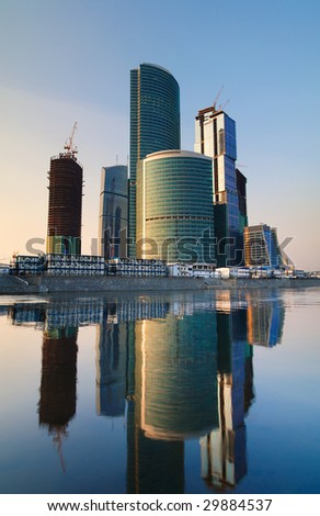 Modern skyscrapers business centre at sunset. Moscow, Russia. Tint Blue - stock photo
