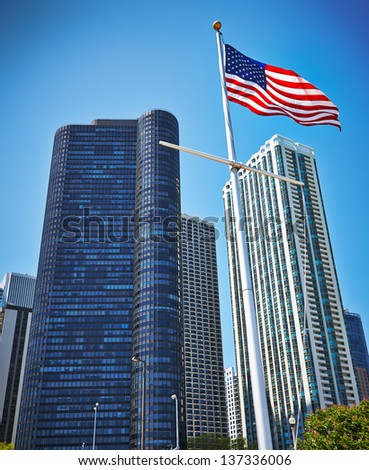 Modern skyscrapers in Chicago on a summer day - stock photo