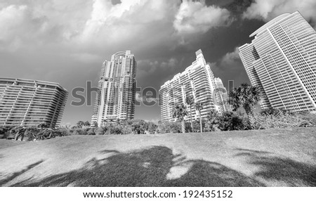 Modern skyscrapers in Miami - Beautiful view of South Pointe. - stock photo