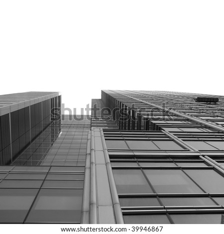Modern skyscrapers isolated over white background copy space - stock photo