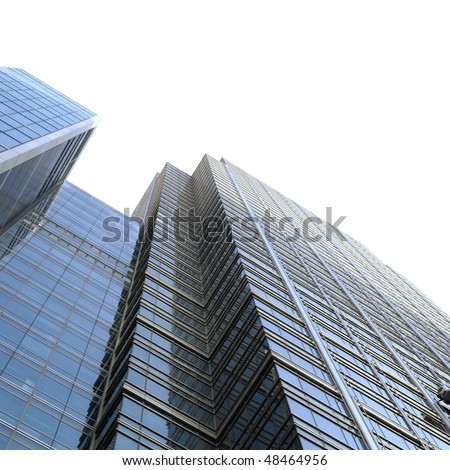 Modern skyscrapers isolated over white background with copy space - stock photo