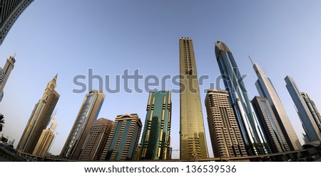 Modern skyscrapers, Sheikh zayed road, Dubai, United Arab Emirates. Dubai is the fastest growing city in the world.