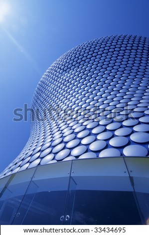 Modern sleek iconic architecture of giant store exterior in Birmingham,England - stock photo