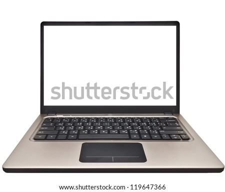 modern slim notebook computer isolated on white background with blank screen - stock photo