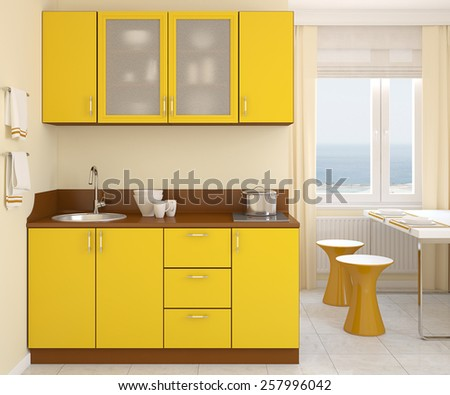 Modern small yellow kitchen. 3d render. Photo behind the window was made by me. - stock photo