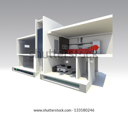 modern smart house design with open structure to see through. support by home battery system,energy saving appliances , - stock photo