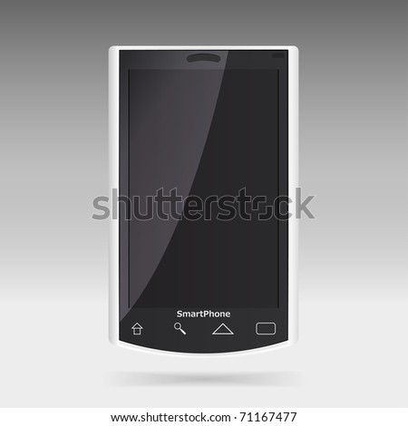 Modern smart phone for mobile communication. Look for vector version at my portfolio. - stock photo