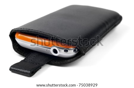 Modern smart phone in leather case - stock photo