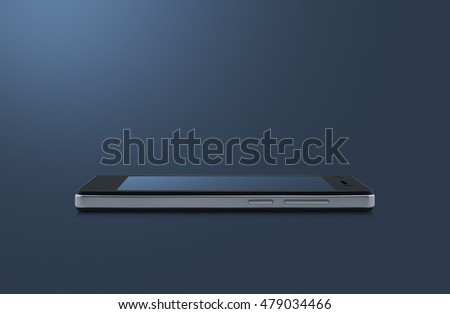 Modern smart phone with blank blue screen isolated on light blue background with clipping path