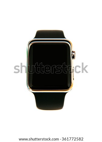 Modern smart watch wearable device isolated with black screen - stock photo