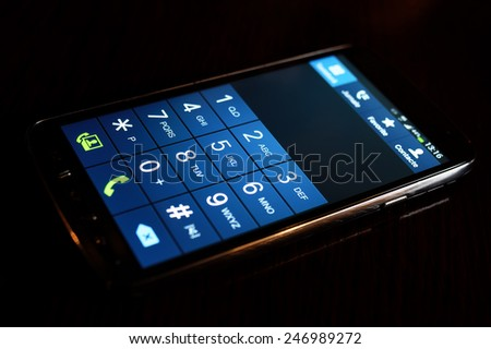 Modern smartphone background display - stock photo