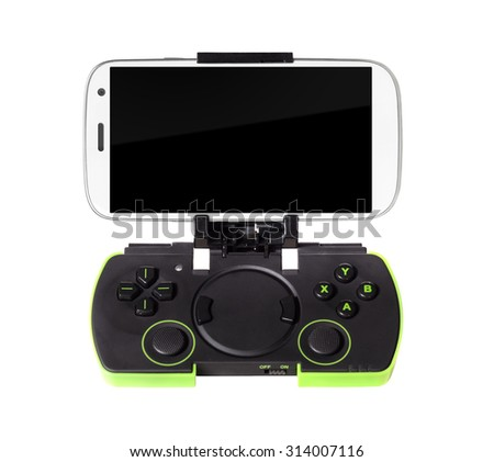 modern smartphone connected with gamepad, isolated on white background - stock photo
