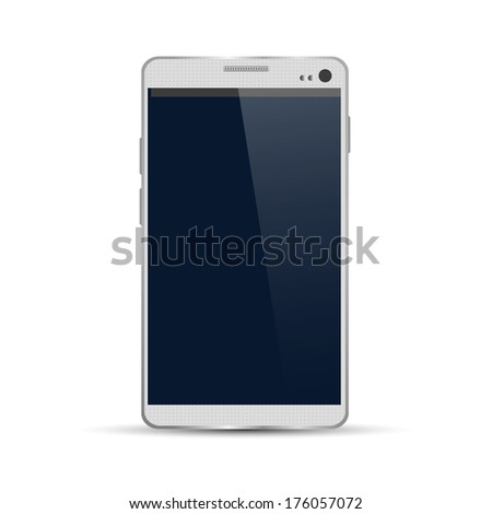 Modern smartphone isolated on white background. Raster version - stock photo