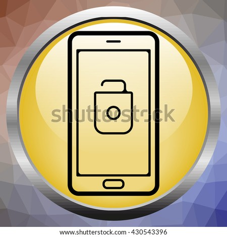 Modern smartphone with mobile security application interface on a screen. - stock photo